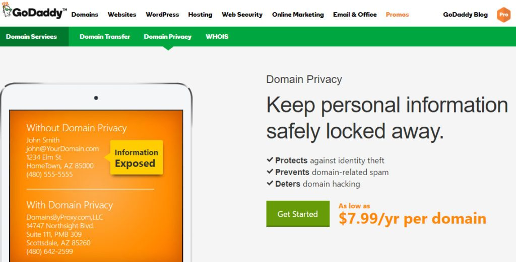 GoDaddy Private Registration Coupon codes $1Year Whois Privacy