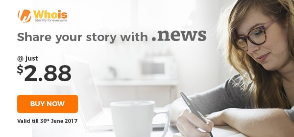 .NEWS domain just $2.88