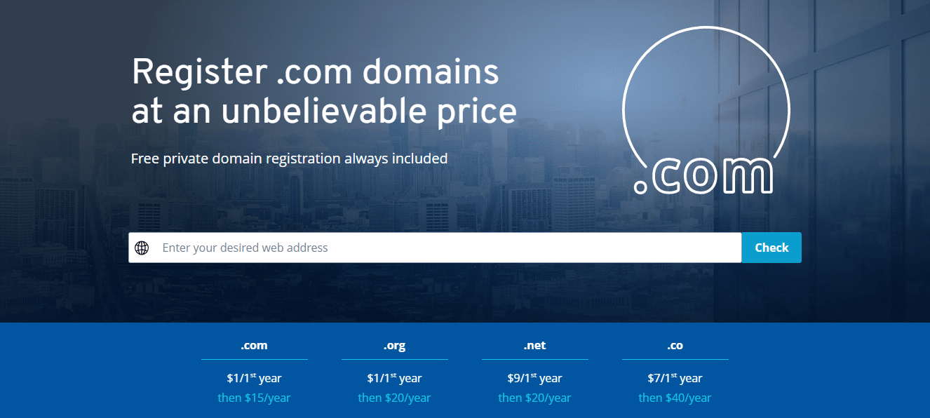 .COM, ORG domain name registration just $1.00 at 1&1 IONOS