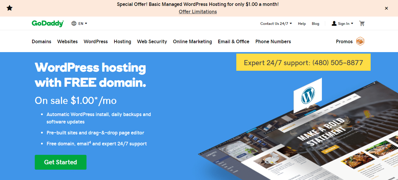 $2.49 GoDaddy WordPress Hosting Plus 01 Free Domain Name