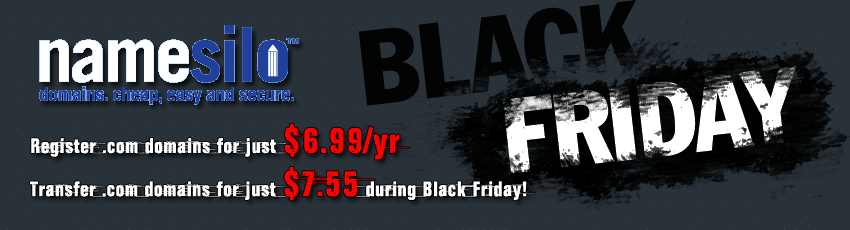 NameSilo Black Friday & Cyber Monday .COM Domains Just $6.99yr
